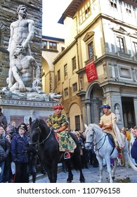 FLORENCE - JANUARY 6: Cavalcade of the Magi, consisting of a procession of characters that goes to Duomo, where bring up the offerings to the Christ Child on January 6, 2012 in Florence, Italy.