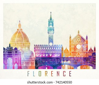 Florence landmarks watercolor poster