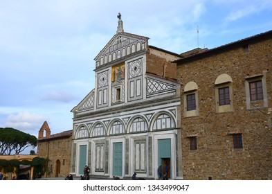 Florence, March 2019: The Facade of the famous Church of San Miniato in Florence. Italy