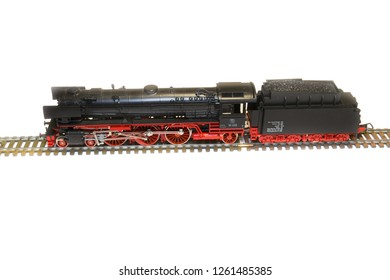 Florence, November 2018: Steam Loco Model isolated on white background