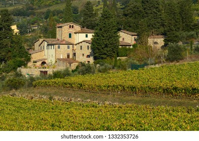 Florence, November 2018: Typical landscape in the Tuscan countryside with vineyards and old houses. Panzano (Florence). Italy.