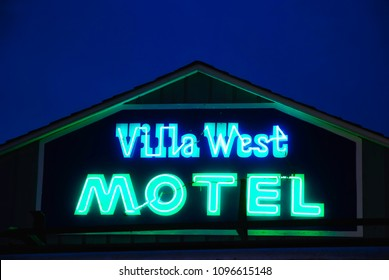 FLORENCE, OREGON, USA - September 3, 2009: Neon sign at the Villa West Motel