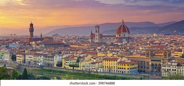 Florence Panorama. Panoramic image of Florence, Italy during beautiful sunset.