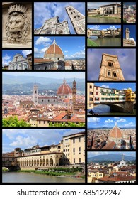 Florence photos collage - Italy town landmark postcard collection.