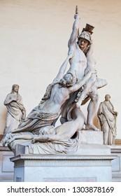 Florence sculpture of The Rape of Polyxena by Pio Fedi sculpture in Loggia Dei Lanzi Piazza Della Signoria Florence, Italy. Firenze landmarks