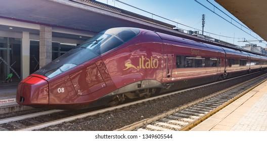 Florence, September 2018. Santa Maria Novella railway terminal, view at the Italian speed train.