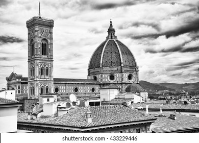Florence skyline black and white, Italy