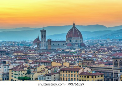 Florence sunset city skyline with Florence Duomo, Florence, Italy