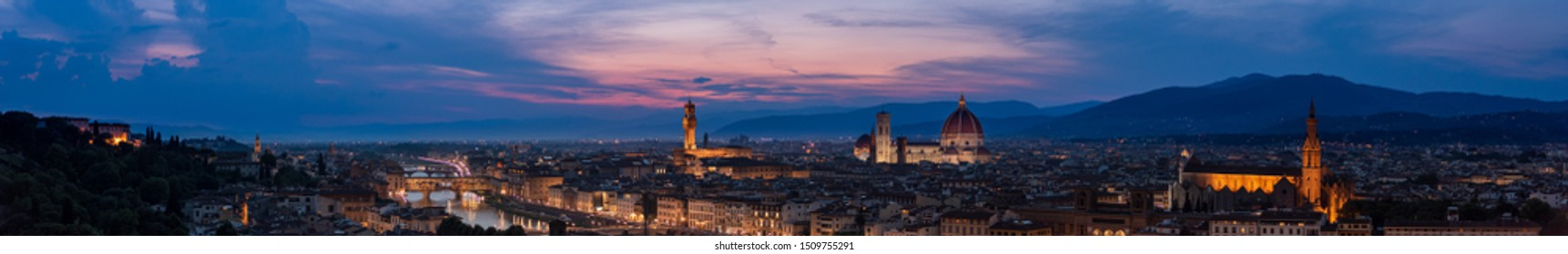Florence sunset very large high resolution panorama with all main florentine landmarks (cathedral, Palazzo Vecchio, Ponte Vecchio bridge, Boboli gardens). Over 23,000 px wide: 6.5 feet (2m) at 300 dpi