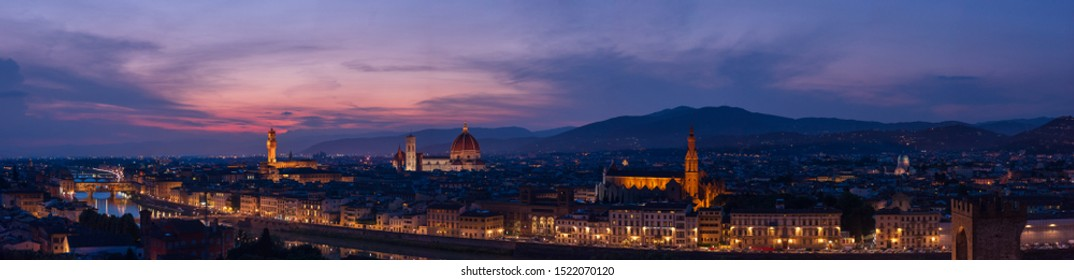 Florence sunset very large high resolution panorama with all main florentine landmarks (cathedral, Palazzo Vecchio, Ponte Vecchio bridge, Arno river banks). Over 22,800 px wide: 6.3 feet (2m) at 300 d