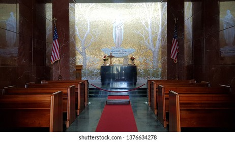 Florence, Tuscany, Italy - April, 2019. The interior of the church of the Florence American Cemetery and Memorial, Florence, Tuscany, Italy