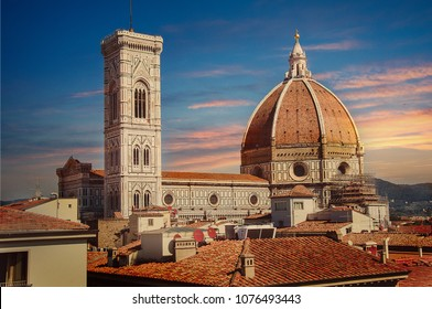 Florence, Tuscany / Italy. - April 23, 2018. Streets of Florence at sunset, far away you can see the Cathedral of Santa Maria Del Fiore