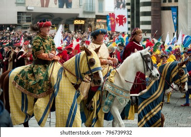 "Florence, Tuscany, Italy - January 6, 2018: Three Wise Men on horseback bringing gifts , during the historical recreation of the ""Procession of the Magi"" to celebrate the Feast of the Epiphany"