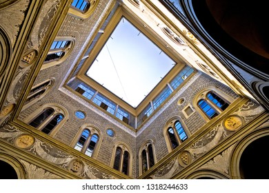 Florence, Tuscany, Italy, July 17 2018: Palazzo Medici famous landmark of Florence atrium view, Tuscany region of Italy. House of florence founders family is tourist attraction.