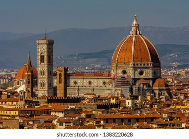 FLORENCE, TUSCANY, ITALY - March 31, 2019: Panorama from above of the Cathedral of Santa Maria del Fiore, in the historic center World Heritage Site.