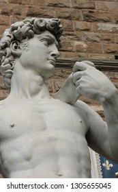 Florence, Tuscany, Italy. May 2018: Copy of Michelangelo's David, out of Palazzo Vecchio; the original, sculpted abuot 1501, by Michelangelo is housed in the Gallery of the Academy of Fine Arts
