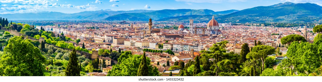 Florence, Tuscany, Italy: Panorama of the old town, Cathedral of Santa Maria del Fiore, Brunelleschi's Dome, Giotto's bell tower, a UNESCO World Heritage Site covering the historic center of Florence.