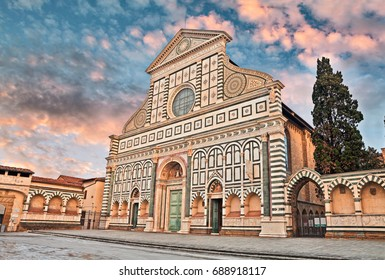 Florence, Tuscany, Italy: renaissance Basilica of Santa Maria Novella, the great Dominican church with the facade of precious colored marble