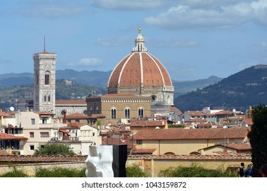 Florence, Tuscany, Italy - September 13, 2017: View of the Cathedral of Santa Maria del Fiore and the Giottos campanile of Florence - Italy.