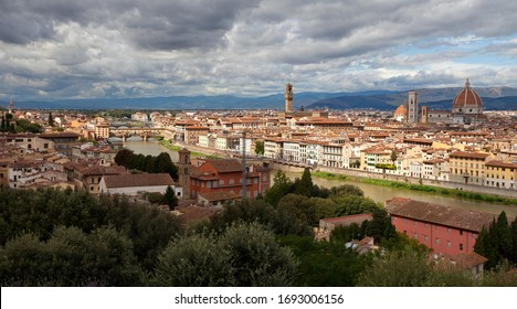 Florence - view at Arno river and old town of Florence. Santa Croce, Florence Cathedral (Duomo di Firenze). Tuscany, Italy.