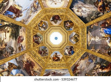 FLORENCE-December 16: Mural Paintings on the ceilings of the Medici Chapels,in Florence, Italy. The Medici Chapels are part of the Basilica of San Lorenzo. Picture taken on November 10, 2016.