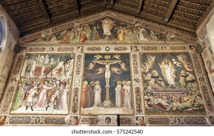 FLORENCE-November 16: Mural Paintings Sacristy of  the church of Santa Croce,in Florence,Italy.Picture taken on November 10,2016.