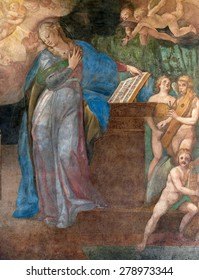 FLORENCE-OCTOBER 22: Mural in the hospital of Santa Maria Nuova. The hospital was founded in 1288 by Folco Portinari, the father of Beatrice beloved by Dante. Picture taken on 22 october, 2014.