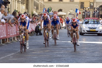 FLORENCE-SEPTEMBER 22: one of the teams that participates in the time team trial race of the UCI road World Championship in florence, on 22 september, 2013.