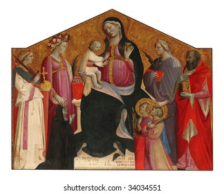 Florence,Tuscany,Italy, Church of  Saint  Salvatore alt the Mountain, Madonna with Child and Saints, oil on table by  Neri di Bicci,fifteenth century