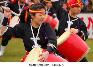 Florencio Varela, Buenos Aires, Argentina - Sep 4, 2016: Eisa (Japanese dance with drums) in Varela Matsuri.