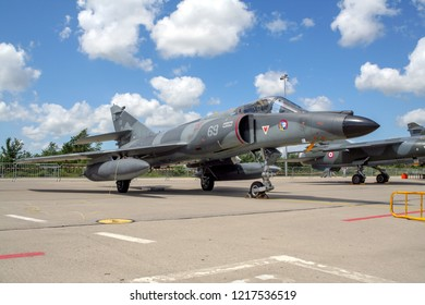 FLORENNES, BELGIUM - JUL 6, 2008: French Navy Dassault Super Etendard fighter jet on the tarmac of Florennes airbase