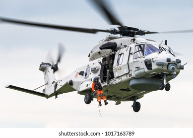 FLORENNES, BELGIUM, JUNE 25: A Belgian Air Force NH90 rescue helicopter giving a demonstration at the Florennes Air Base on June 25, 2016, Florennes, Belgium.