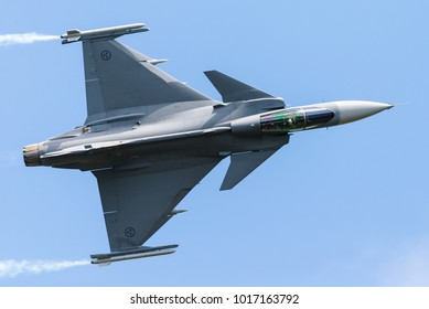 FLORENNES, BELGIUM, JUNE 25: A Swedish Saab JAS39 Gripen fighter jet giving a demonstration at the Belgian Air Force Days at the Florennes Air Base on June 25, 2016, Florennes, Belgium.
