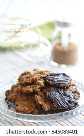 florentine cookies on a plate, blurred background