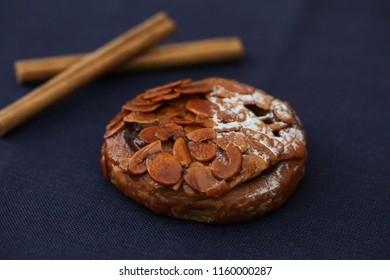 Florentines sweet almond pie isolated on table cloth