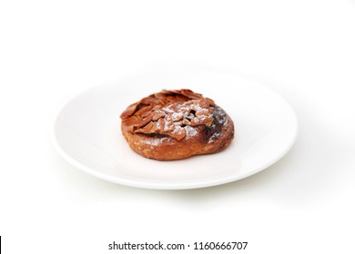 Florentines sweet almond pie isolated on plate white background
