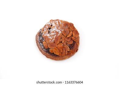 Florentines sweet almond pie isolated on white background