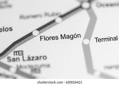 Flores Magon Station. Mexico City Metro map.