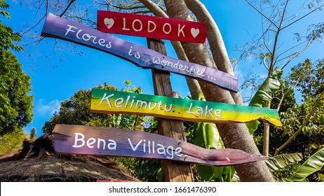 Flores/Indonesia-08022019: Colorful signs attached to a tree, pointing to the closest tourist attractions on Flores, being Bena Village and Kelimutu Lakes, One of the sign says: Flores is wonderful.