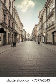 Florian street in historic city center of Krakow, Poland