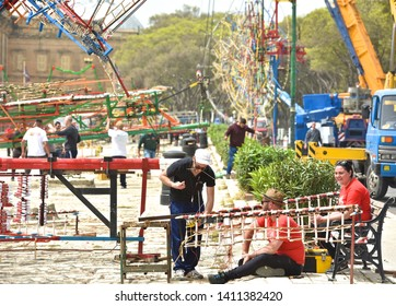 Floriana,Valletta,Malta 9 may, 2019: people from fireworks factory preparing for Ground fireworks festival in Floriana, Malta on 9 may, 2019.Team set the pyrotechnic equipment for the fireworks.