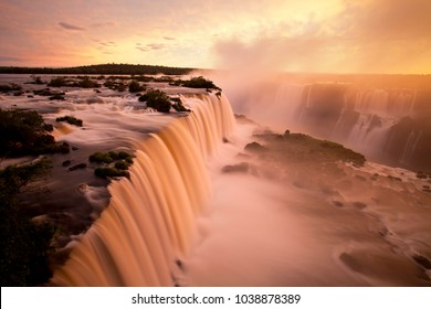 Floriano waterfall sighted from the footbridge of the National Park of Iguazu Falls - Foz do Iguaçú, Brazil - A wonder of nature between Brazil and Argentina