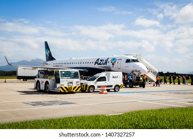 Florianopolis, Brasil.  May 16, 2019. Airplane of Azul airlines in Florianopolis airport.