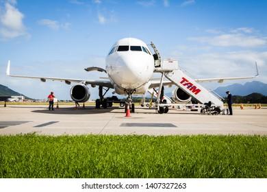 Florianopolis, Brasil.  May 16, 2019. Airplane of Latam airlines in Florianopolis airport.