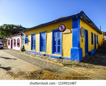Florianopolis, Brazil - Circa August 2018: Typical colonial (Portuguese) houses in Santo Antonio de Lisboa village, tourist destination in Florianopolis