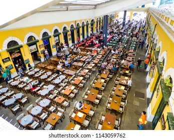 Florianopolis, Brazil - Circa July 2018: A view from above of the food court inside the Public Market