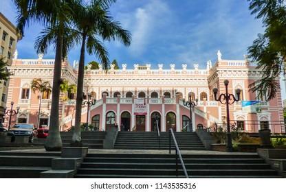 Florianopolis, Brazil - Circa July 2018: Cruz e Sousa Palace, local history museum, in downtown Florianopolis