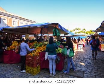 Florianopolis, Brazil - Circa June 2018: Farmer's market in downtown Florianopolis