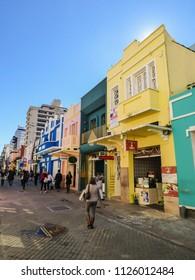 Florianopolis, Brazil - Circa June 2018: A view of Conselheiro Mafra street with preserverd colonial (Portuguese) buildings
