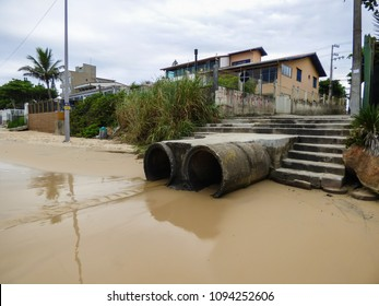 Florianopolis, Brazil - Circa May 2018: Open sewer going straight to Ingleses beach